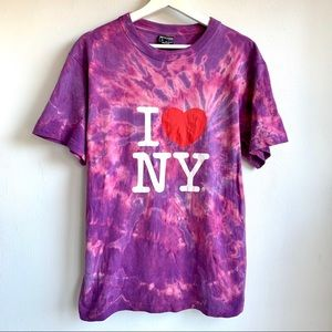 I Love NY tie dyed pink and purple t shirt size M